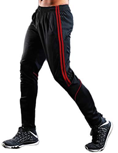 RIOJOY Black Joggers Sweatpants for Men, Sport Tracksuit Bottoms with Zipper Pocket, Casual Stripe Slim Workout Trousers
