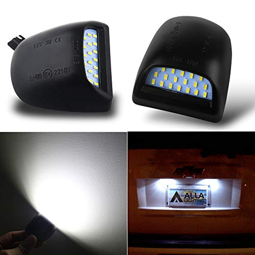 Alla Lighting CANBUS Super Bright LED License Plate Light Lamp Assembly Replacement For Cadillac Escalade Chevy Silverado 1500 2500 3500 Suburban Tahoe GMC Sierra 1500 2500 Yukon XL, 6000K Xenon White