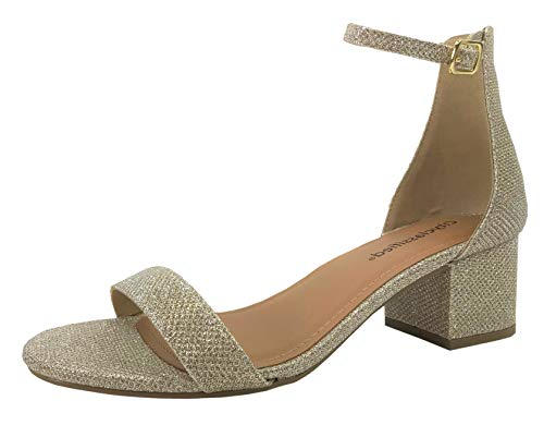 (Classified Chunky Block Heel Dress Sandal Over Toe Ankle Wrap Strap, Nude Glitter, 6)