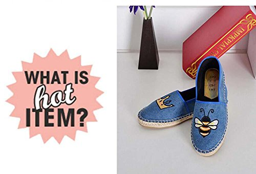 40 Shoes Words blue Linen Eu Shoes Bees Canvas Shoes Shoes Size Tiger Pedal bee Pattern Fisherman Pumps Girls Flat Casual Loafer 34 Shoes Couple Shoes Lazy Onfly Comfortable 4BWFw7Hqwz