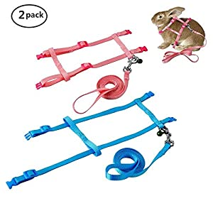 PERSUPER 2 Pack Pet Rabbit Harness Leash for Soft Nylon,Running,Walking Jogging Harness Leash with Safe Bell for Bunny, Cat, Kitten,Ferret, Puppy and Other Small Pet Animals