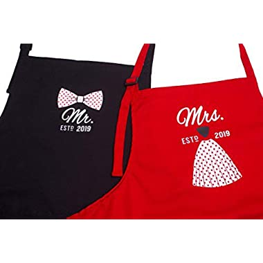 Mr Mrs Anniversary Apron Gift - Year 2019 - Man and Women 2 Piece Set - Perfect for engagements, weddings, happy anniversaries, bridal showers, valentines day by 2MU