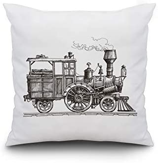 Lantern Press Vintage Sketch Illustration of a Retro Steam Train on a White Background A-9010858 20×20 Spun Polyester Pillow, Custom Border
