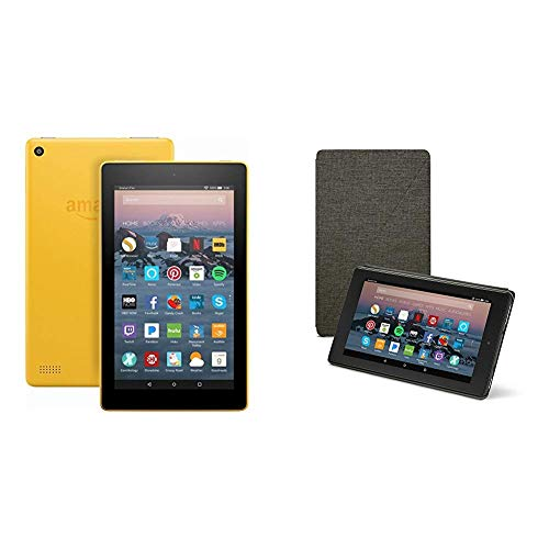 Fire 7 Tablet (8 GB, Canary Yellow, With Special Offers) + Amazon Standing Case (Charcoal Black)