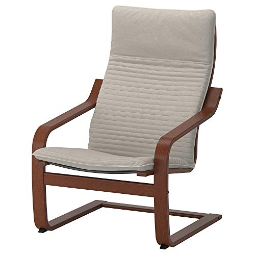 IKEA ' Poang Chair Armchair with Cushion, Cover and Frame (Knisa Light Beige) Bundle with Feltectors Cleaning Cloth