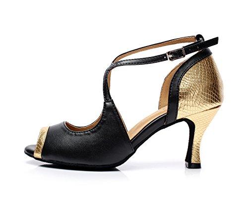 Mujer Gold Shoes EU36 Modern Tacones Our37 Sandalias Samba Jazz Para Salsa heeled10cm 5 Tea JSHOE Altos Tango UK4 CpSqq