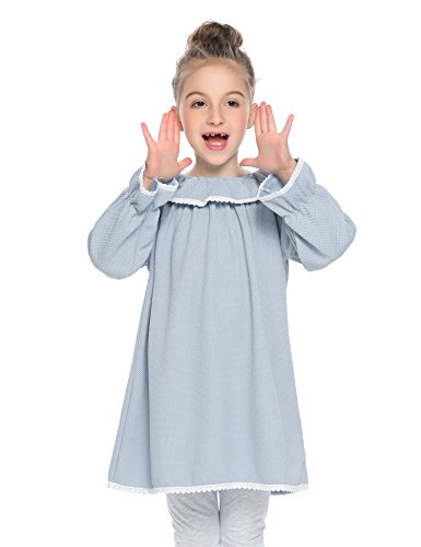 Arshiner Kids Girl O-Neck Long Sleeve Ruffle Button Lace-Trimmed Dress (Trimmed Ruffle Lace)