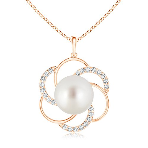 South Sea Cultured Pearl Flower Pendant Necklace for Women with Diamond Swirl in 14K Rose Gold (10mm South Sea Cultured (Pearl Swirl Necklace)
