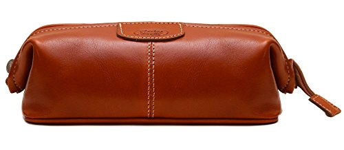 Floto Venezia Dopp Kit in Olive Brown Full Grain Leather by Floto