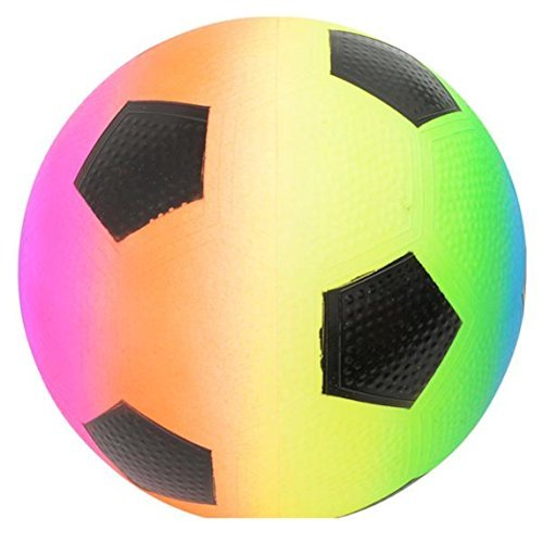 (Rhode Island Novelty Rainbow Regulation Soccer Ball Design Playground Latex Inflatable Kickball (1))
