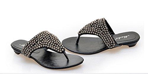 Crc Kvinna Romersk Stil Låg Häl Öppen Tå Tillfälliga Bekväm Konstläder Flip-flop Sandaler Svart