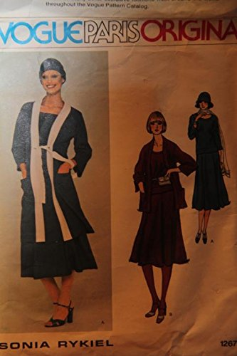 Vintage Vogue Pattern 1267 - Misses' Top, Skirt, Jacket And Hat - Size 10 / Sonia Rykile (uncut pattern, envelope has -
