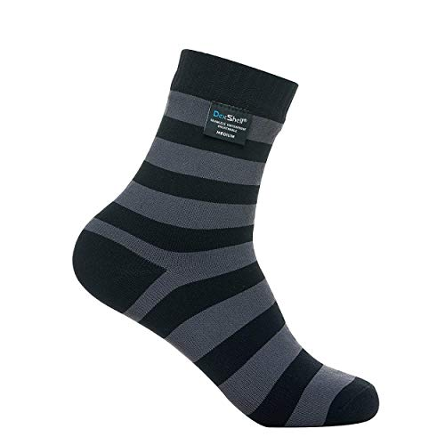 DexShell Ultralite Bamboo Waterproof Socks, Stripe Grey/Black, US Large(9.5-12)
