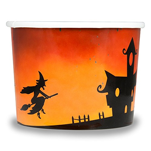 Halloween Themed Paper Dessert Cups - 12 oz Holiday Ice Cream Bowls - Orange Spooky Themed Paper Ice Cream Cups - Frozen Dessert Supplies - Fast Shipping! 50 Count by Frozen Dessert Supplies (Image #3)
