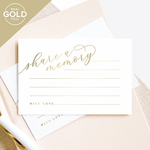 Gold Share A Memory Cards   Perfect For  Funeral  Celebration Of Life  Memorial  Retirement  Going Away Party  Birthday  Graduation  Wedding   50 Pack Of 4X6 Cards From Bliss Paper Boutique