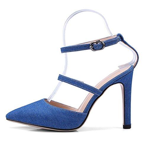 con Verano de cierran Mujeres En Agudos y Puntiagudos Sandalia Sandalias Mujer Europeas Blue de Las para Zapatos se Alto con los Zapatos Americanas Mujer Pulsera Tacón Fpwqv10