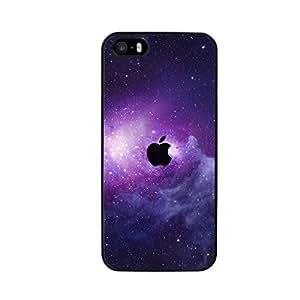 FUNDA CARCASA PARA Apple iPhone SE MANZANA NEGRA CON FONDO ESTRELLAS NEBULOSA BORDE NE