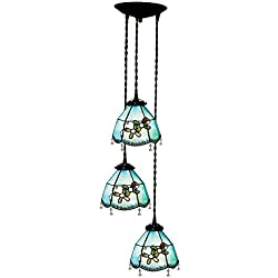 Bieye L10132 Mediterranean Tiffany Style Stained Glass Pendant Hanging Lamp with 8 inches Shade and 3 Light Chandelier (Blue)