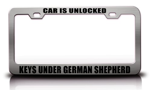 CAR IS UNLOCKED KEYS UNDER GERMAN SHEPHERD Humor - German License Plate Funny