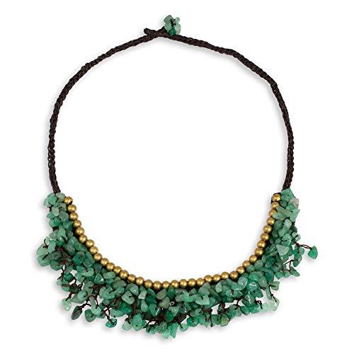 - NOVICA Aventurine Brass Beaded Necklace, 20.5