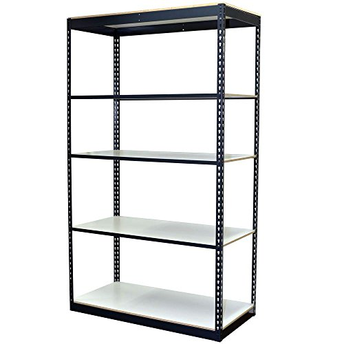 5-Shelf Steel Boltless Shelving Unit with Low Profile Shelves and Laminate Board Decking (Price Varies by Size)