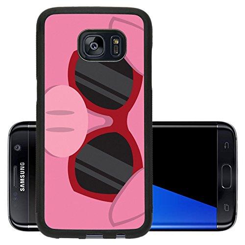 Liili Premium Samsung Galaxy S7 Edge Aluminum Backplate Bumper Snap Case IMAGE ID: 18010975 Cartoon pig head with - With Cartoon Sunglasses Character