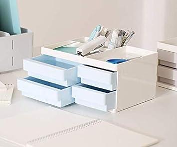 Blau // Wei/ß SFQMT Schreibtisch-Organizer Wei/ß Blau 2 Schubladen
