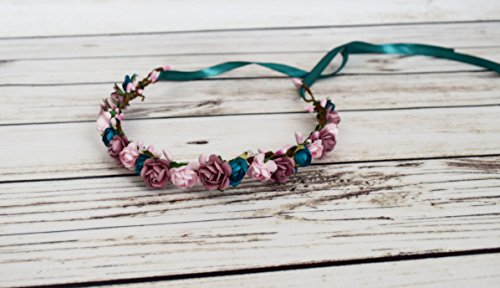 Handcrafted Teal Pink and Mauve Flower Crown - Dusty Rose Crown - Flower Girl Halo - Adult Flower Crown - Small Wedding Accessory - Woodland Wedding