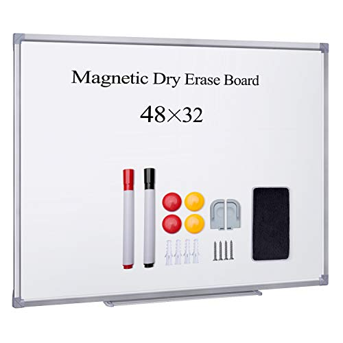 HBlife Magnetic Dry Erase Board,48x32 Inches Magnetic Whiteboard Wall Mounted Silver Aluminium Frame with 1 Magnetic Eraser,1 Marker Tray,2 Dry Erase Marker,4 Magnets for School, Home, Office ()