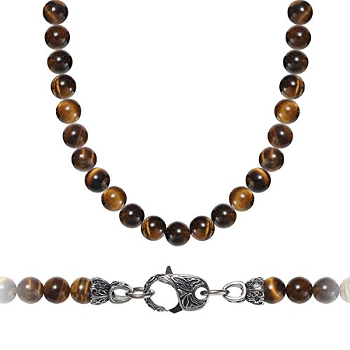 WESTMIAJW Mens Stainless Steel Natural Tiger Eye Beads Necklace 8mm Gemstones,24
