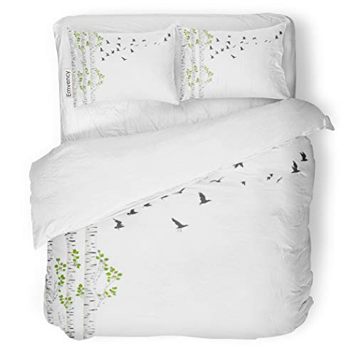 (SanChic Duvet Cover Set Green Aspen Birch Trees and Birds Flying Spring Decorative Bedding Set with 2 Pillow Cases King Size)