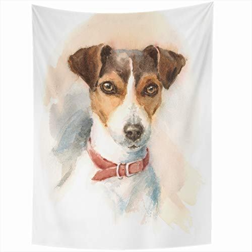 - Ahawoso Tapestry 50x60 Inch Artistic Painting Watercolor Dog Jack Russell Terrier Breeds Brush Domestic Wall Hanging Home Decor for Living Room Bedroom Dorm