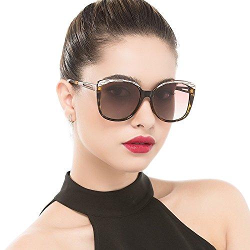 De Brown TIANLIANG04 Negro Polarizadas Sol Bastidor Mujer De Classic Lujo Gafas Sol Uv400 Enormes Gafas Grande Unas Butterfly De Leopard Plata Gafas De HtwAtB