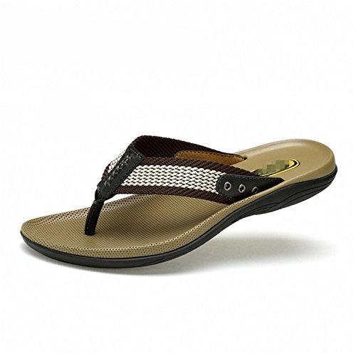 de Cuero Negro de Genuino Botia Hombre Zapatillas de Sandalias Sandalias Playa Masaje Chanclas Oq7nzA7