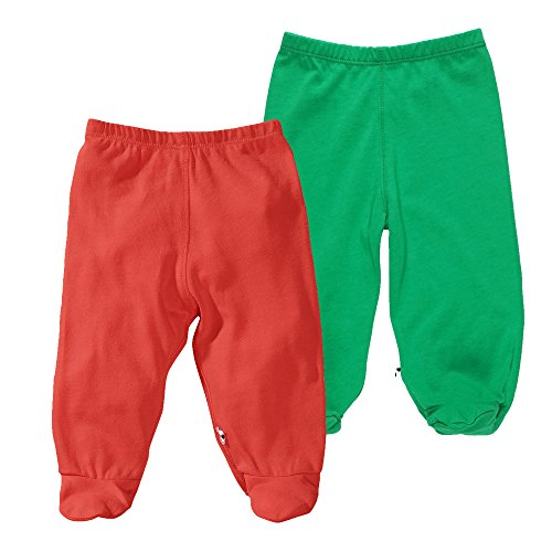 Babysoy Eco Footie Pants Unisex Pack of 2 (6-12 Months, Fern + Tomato)