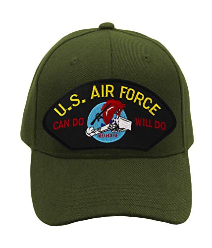 Patchtown US Air Force Red Horse - Charging Charlie Hat/Ballcap Adjustable One Size Fits Most (Olive Green, Add American Flag)