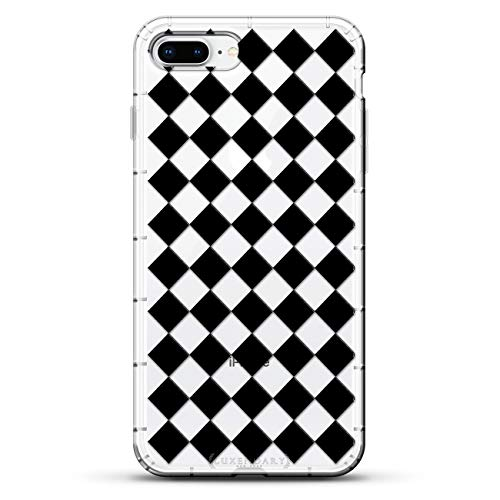 SHAPES & PATTERNS: CHECKER BOARD | Luxendary Air Series Clear Silicone Case with 3D Printed Design and Air-Pocket Cushion Bumper for iPhone 8/7 Plus