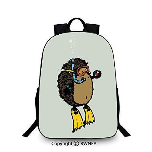 Motifs School Bag Travel Daypack,Cartoon Scuba Diver Hedgehog Cute Illustration for Kids Funny Sea Life Travel College School Bags Baby Blue Yellow Brown