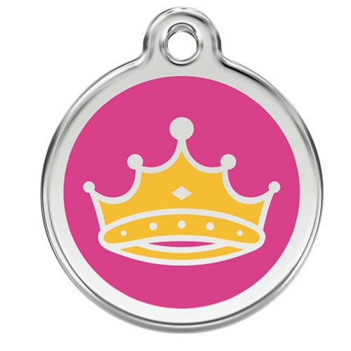 Custom Engraved Stainless Steel and Enamel Dog ID Tag - Queens Crown (Large) by Red Dingo