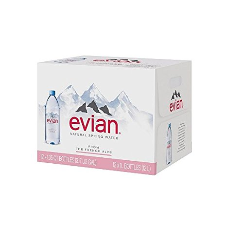 (Evian Natural Spring Water (1L, 12 pk.) (pack of 2) )