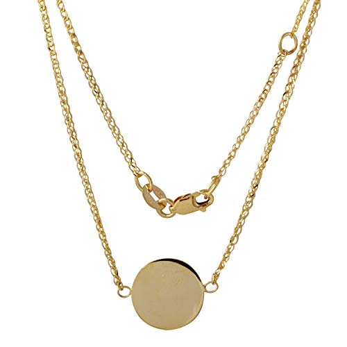 Bee Jewels 14k Yellow Gold Italian Engraveable Disc Pendant Necklace, 16+1