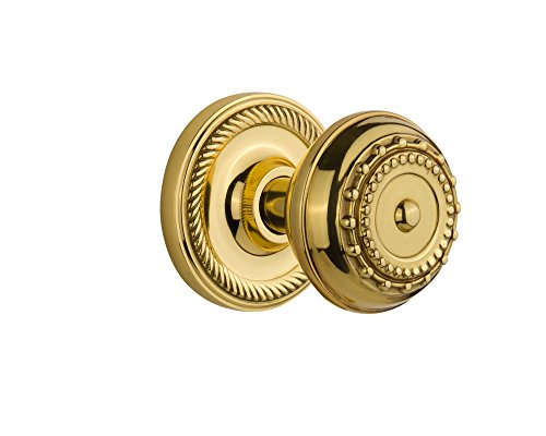Nostalgic Warehouse Rope Rosette with Meadows Knob, Double Dummy, Unlacquered Brass