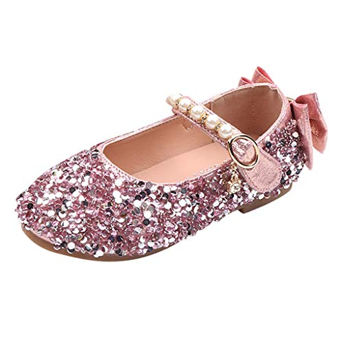 (Mysky Popular Children Kids Girls Lovely Sequin Crystal Bowknot Pearl Buckle Princess Shoes Dance Single Shoes)
