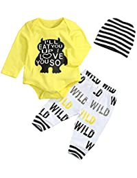 Newborn Baby Boy Clothes Monster Cartoon Letter Long sleeve Rompers Jumpsuit Tops Pants Clothes