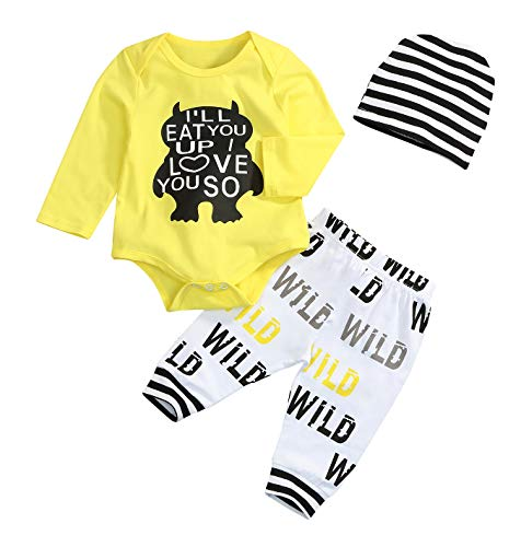 (Toddler Baby Boy Monster Cartoon Letter Sleeve Summer Short Sleeve Jumpsuit Tops Pants Clothes)