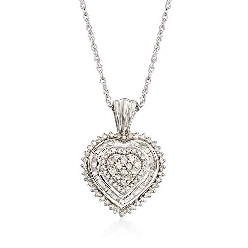 (Ross-Simons 0.51 ct. t.w. Baguette and Round Diamond Heart Pendant Necklace in Sterling Silver)