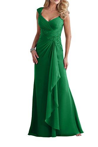 Brau Promkleider Ausschnitt mit Grün La Brautmutterkleider Spitze mia Damen V Etuikleider Langes Abendkleider BYq5xSw
