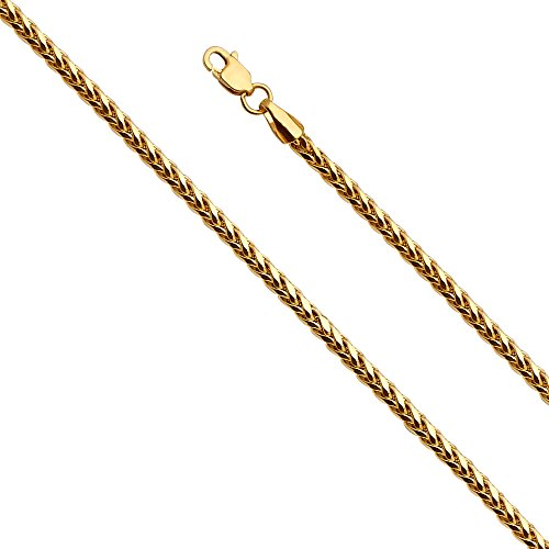 14k Yellow Gold 2.5mm Diamond Cut Hollow Wheat Chain Bracelet with Lobster Claw Clasp - 7.5