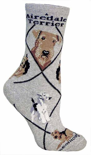 Airedale Terrier Woman's Socks ,Gray,9-11