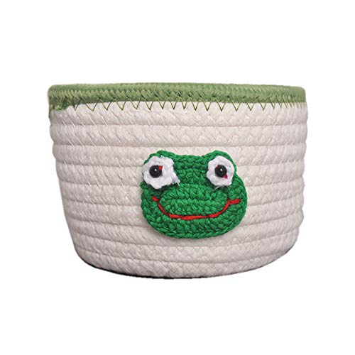 Storage Baskets Woven Basket,Cotton Rope Cartoon Woven Basket,5.91''x3.15''Decorative Basket for Toy Organization,Blanket Storage,Towel,Laundry,Magzine,Gift Basket,Room Organizing or Baby ()
